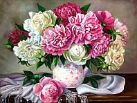 50х40 см алмазная мозаика ПИОНЫ вышивка картина мозаїка діамантова вишивка букет в вазе цветы 50 х 40