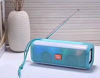Беспроводная bluetooth колонка TG-144 FM 10 W с Радио антенной и разноцветной подсветкой Бирюзовая