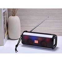Беспроводная bluetooth колонка TG-144 FM 10 W с Радио антенной и разноцветной подсветкой Черная