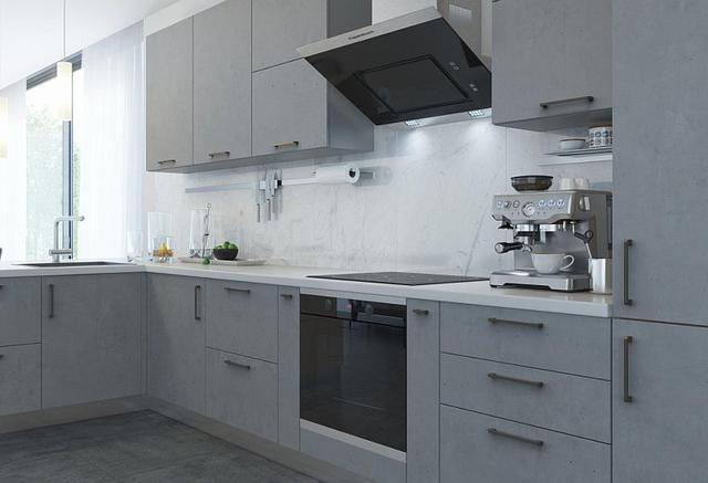 Кухня бетон со стильными ручками лофт