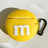 Чохол силіконовий для бездротових навушників Apple AirPods 2 M&m's, Жовтий, фото 2