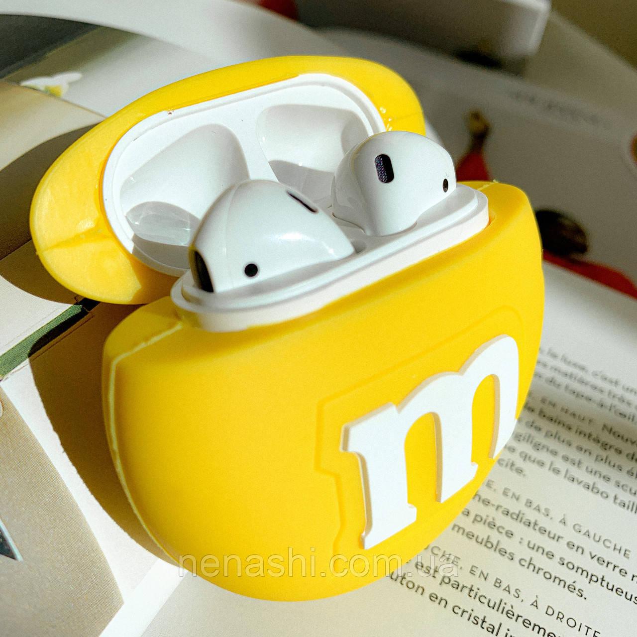 Чохол силіконовий для бездротових навушників Apple AirPods 2 M&m's, Жовтий