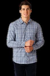 Мужская рубашка в клетку голубая с длинным рукавом Finn Flare A18-22030-211