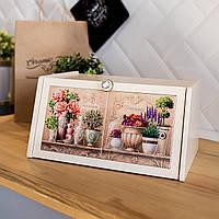 Хлебница деревянная Allicienti с керамикой Розовые пионы и лаванда 36х25х18,7 см