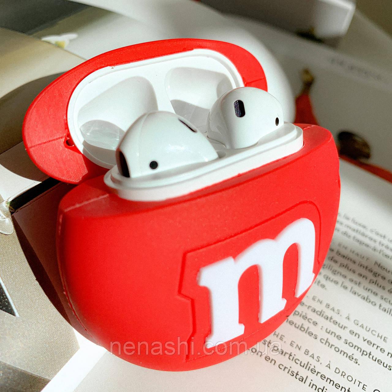 Чохол силіконовий для бездротових навушників Apple AirPods 2 M&m's, Червоний