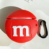 Чохол силіконовий для бездротових навушників Apple AirPods 2 M&m's, Червоний, фото 2