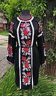 Сукня льон машинна вишивка М Ромалия бохо чорна 2001-п-010В