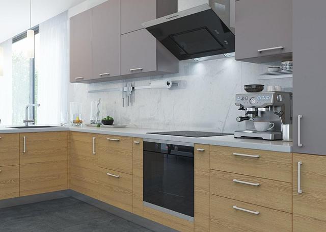 Стильная кухня в стиле лофт с белыми ручками