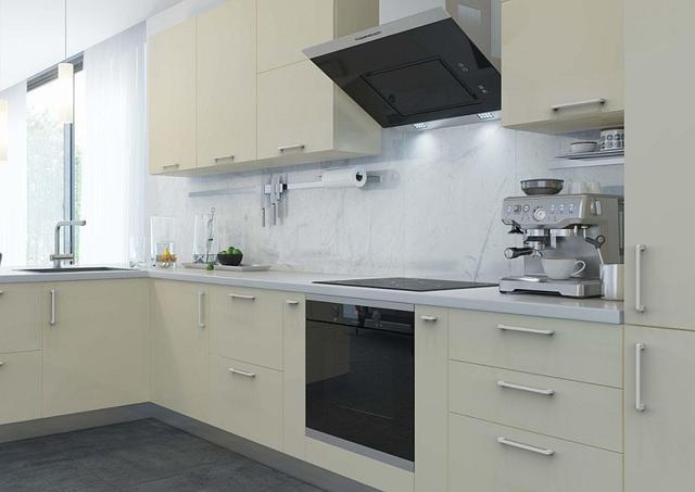 Кухня модерн с белыми ручками скобами