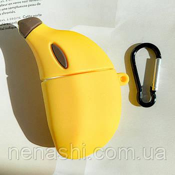 Чехол силиконовый для беспроводных наушников Apple AirPods 2 Банан, Желтый