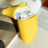 Чехол силиконовый для беспроводных наушников Apple AirPods 2 Банан, Желтый, фото 2