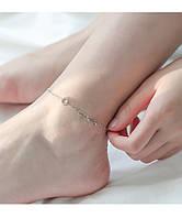 Браслет на ногу (анклет) с кругом из камней + три капли с фианитами, серебряное покрытие 925 пробы, 19+5 см