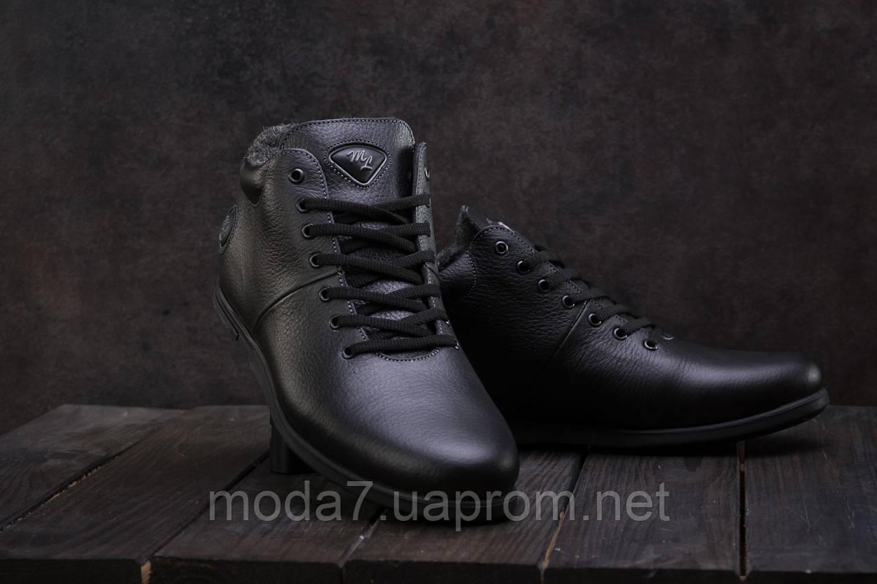 Мужские ботинки кожаные зимние черные Milord Olimp
