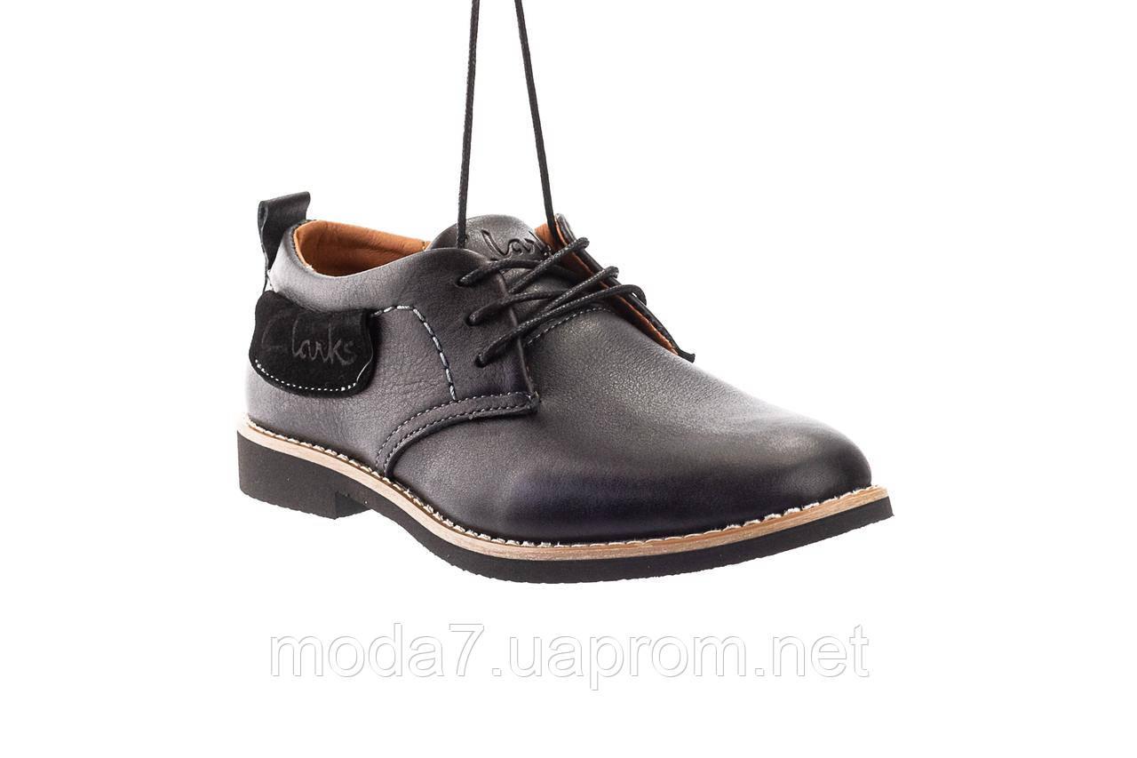 Підліткові туфлі шкіряні весна/осінь чорні Yuves М6