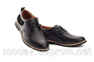 Підліткові туфлі шкіряні весна/осінь чорні Yuves М6, фото 3