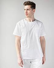 Мужской медицинский костюм Техас цвет белый на пуговицах