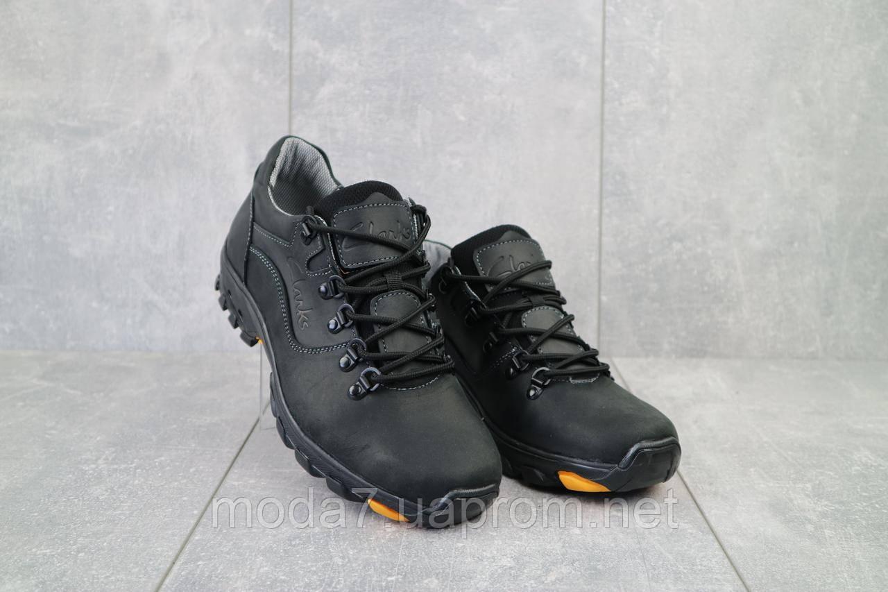 Мужские кроссовки кожаные весна/осень черные Yuves 559