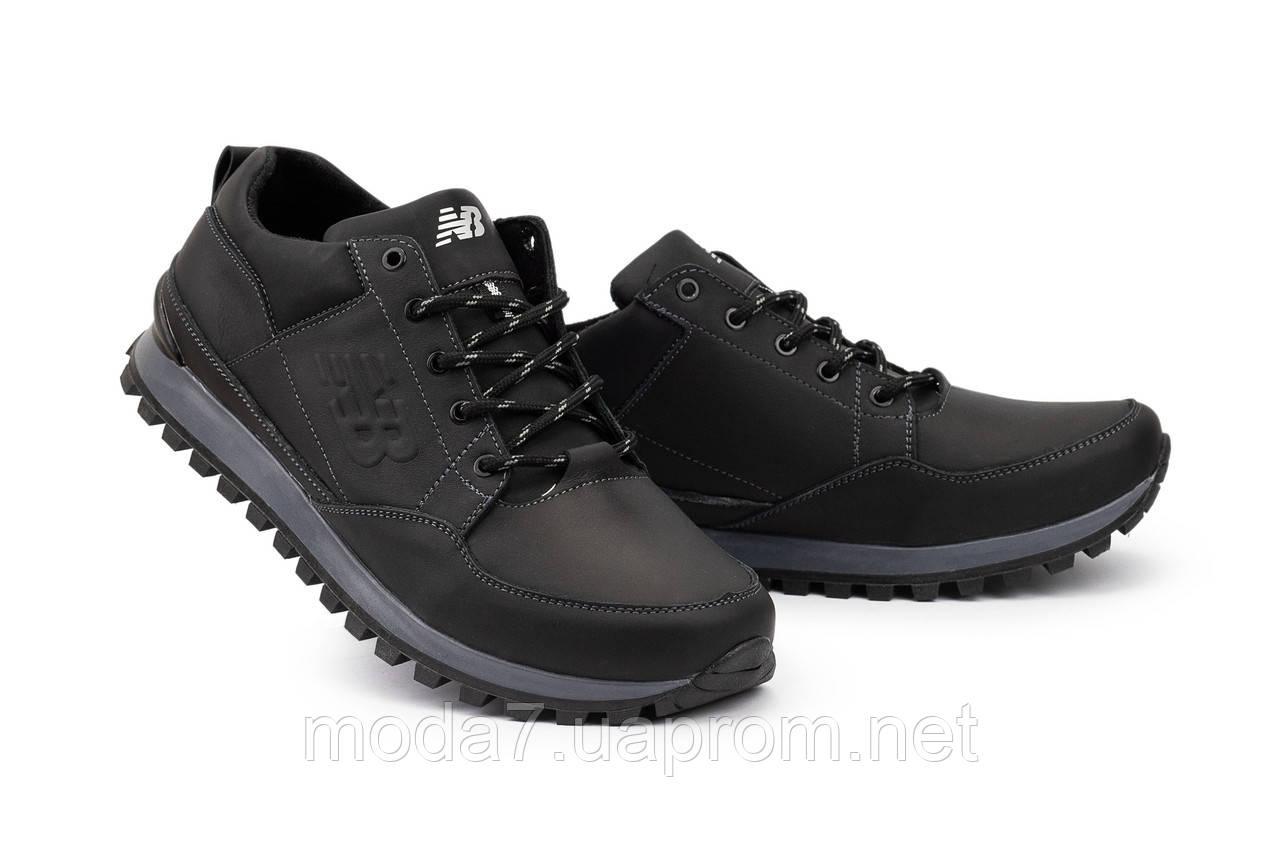 Мужские кроссовки кожаные весна/осень черные Anser 95