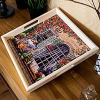 Поднос квадратный деревянный Allicienti с керамикой Рыжий кот и французская дверь 34х34 см