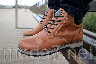 Мужские ботинки кожаные зимние рыжие Yuves 775, фото 2