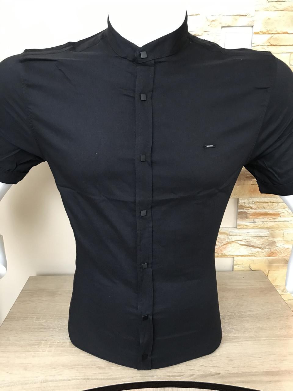 Черная рубашка с коротким рукавом Black Stone стойка
