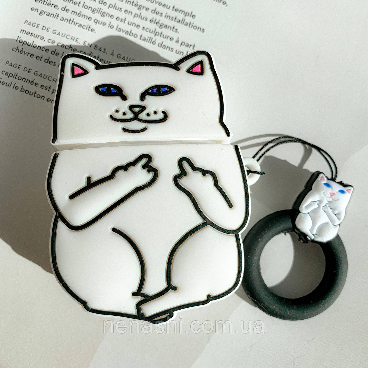 Чехол силиконовый для беспроводных наушников Apple AirPods 2 Cat with fuck, Белый