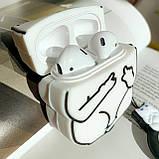 Чехол силиконовый для беспроводных наушников Apple AirPods 2 Cat with fuck, Белый, фото 2