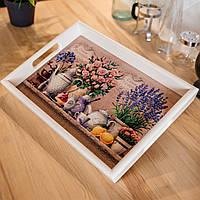 Поднос прямоугольный деревянный Allicienti с керамикой Кустовые розы и лаванда 34х24 см