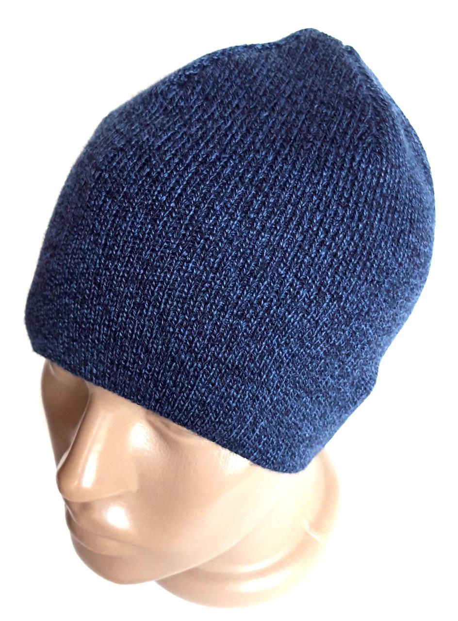 Шапка вязанная одинарная 54-58 меланж синяя