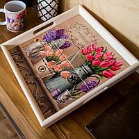 Поднос квадратный деревянный Allicienti с керамикой Тюльпаны и сирень 34х34 см