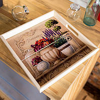 Поднос квадратный деревянный Allicienti с керамикой Лаванда и горшочек с цветами 34х34 см
