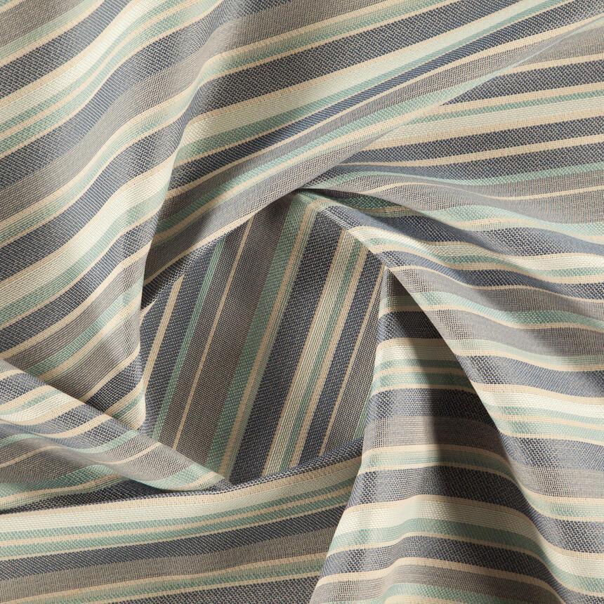 Мебельная ткань в полоску для обивки Хай Лайн Сандек (High Line Sundeck) голубого цвета