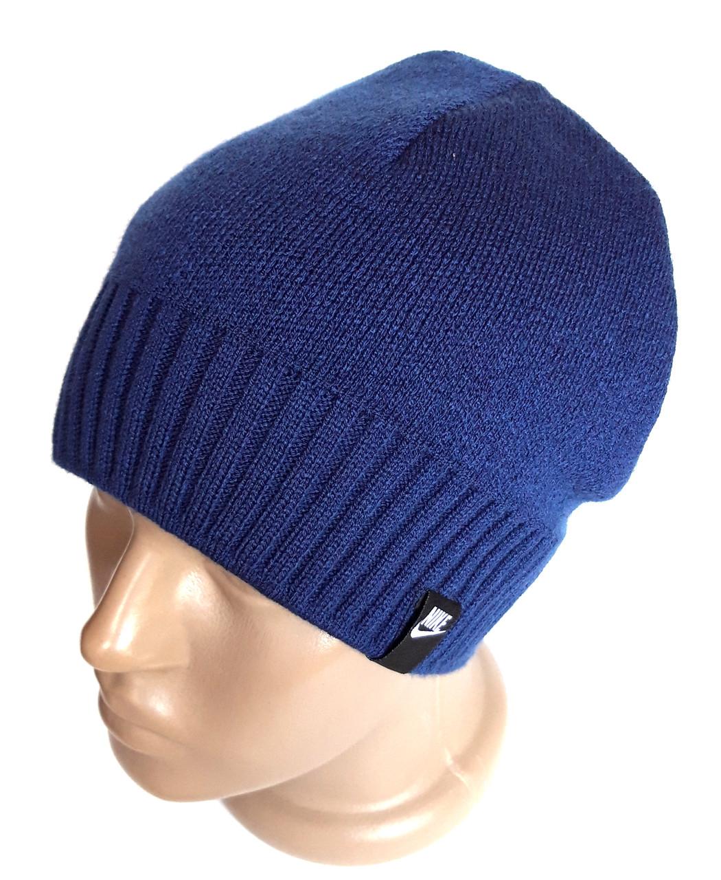 Шапка вязанная подкладка флис 54-58 синяя