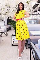 Платье женское из льна с вышивкой в расцветках (Батал)