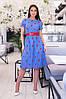Платье женское из льна с вышивкой в расцветках (Батал) - Фото