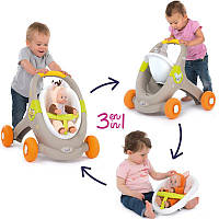 Ходунки коляска для кукол Smoby Minikiss Animal Baby 3в1 210206