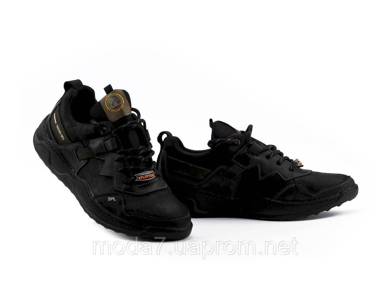 Мужские кроссовки кожаные весна/осень черные Splinter Trend 1520