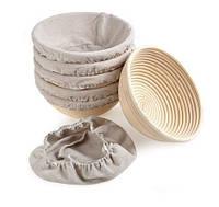 Форма для расстойки хлеба из ротанга круглая на 0,75 кг с тканью. Расстоечная корзинка для теста