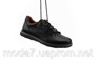 Мужские Повседневные туфли кожаные весна/осень черные Yuves 650, фото 2