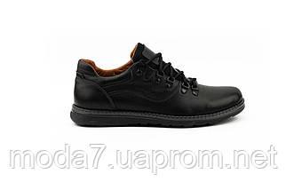 Мужские Повседневные туфли кожаные весна/осень черные Yuves 650, фото 3