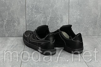 Мужские кеды кожаные весна/осень черные CrosSAV 57, фото 2