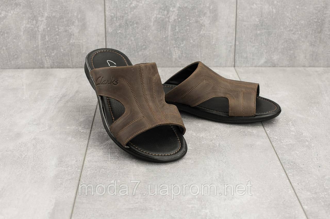 Мужские шлепанцы кожаные летние коричневые Yuves Z5