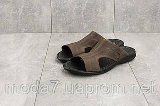 Мужские шлепанцы кожаные летние коричневые Yuves Z5, фото 2