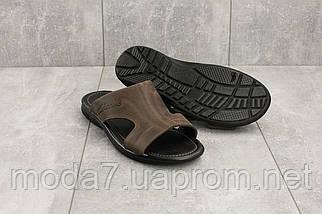 Мужские шлепанцы кожаные летние коричневые Yuves Z5, фото 3