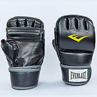 Перчатки для смешанных единоборств MMA PU EVERLAST HEVY BAG 4301SM (р-р S-M, черный-серый)