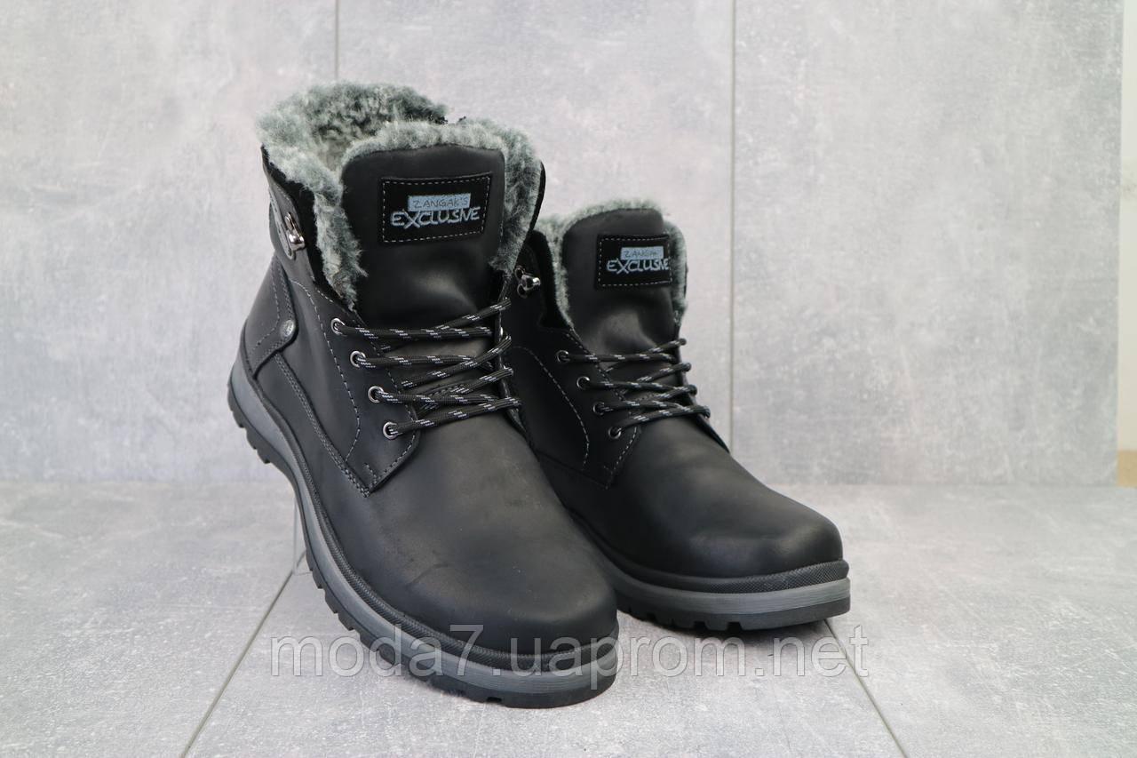 Мужские ботинки кожаные зимние черные Zangak 137 чор-кр