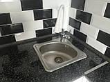 Квадратная кухонная мойка Platinum 3838B Satin 0,6мм, фото 3