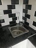 Квадратная кухонная мойка Platinum 3838B Satin 0,6мм, фото 4