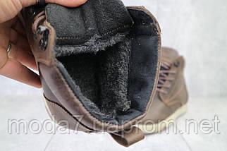 Мужские ботинки кожаные зимние коричневые-матовые Yuves 772, фото 3