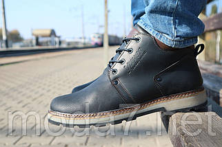 Мужские ботинки кожаные зимние черные-матовые Yuves 781, фото 2